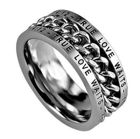'True Love Waits' - Men's Chain Ring-Christian Rings-Spirit and Truth-SGN509442057-SonGear