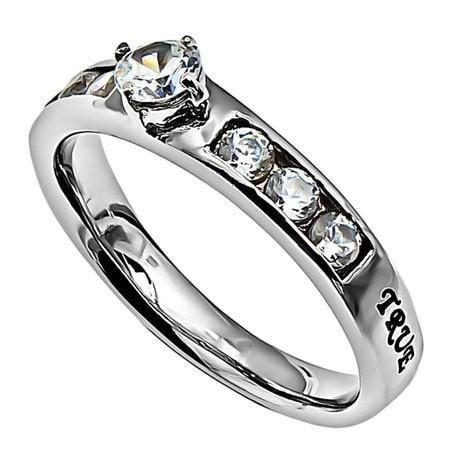 'True Love Waits' - Princess Solitaire Ring-Christian Rings-Spirit and Truth-SGN2371082406-SonGear