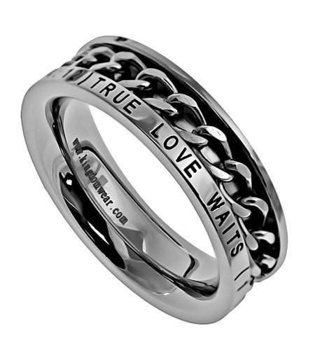 'True Love Waits' - Women's Chain Ring-Christian Rings-Spirit and Truth-SGN393621625-SonGear