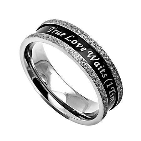 'True Love Waits' - Women's Ebony Champagne Ring-Christian Rings-Spirit and Truth-SGN263784000-SonGear