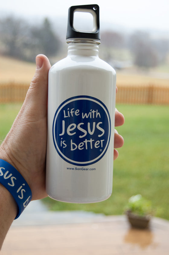 Life with Jesus is better - Stainless Steel Water Bottle (White)