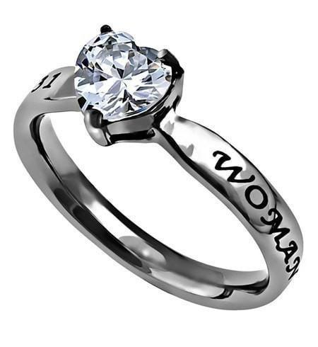 'Woman Of God' - CZ Heart Ring-Christian Rings-Spirit and Truth-SGN3342065570-SonGear