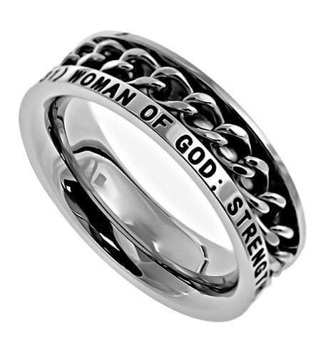'Woman Of God' - Women's Chain Ring-Christian Rings-Spirit and Truth-SGN3010960777-SonGear