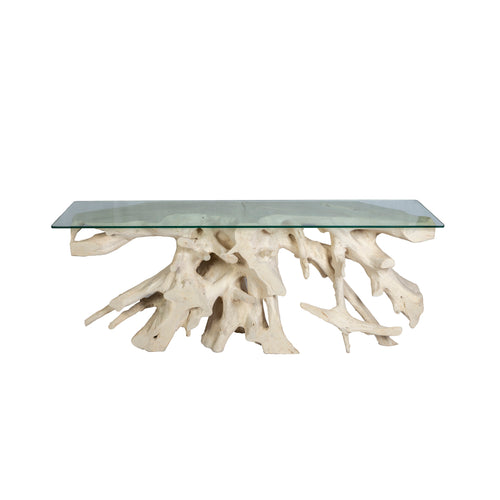 Whitewashed Teak Root Console