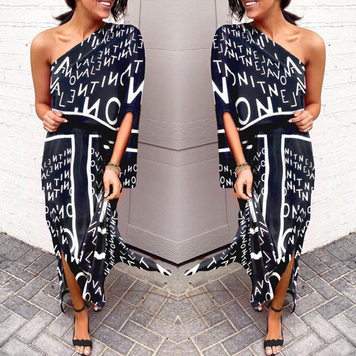 Valley Dress | Black and white off the shoulder maxi dress