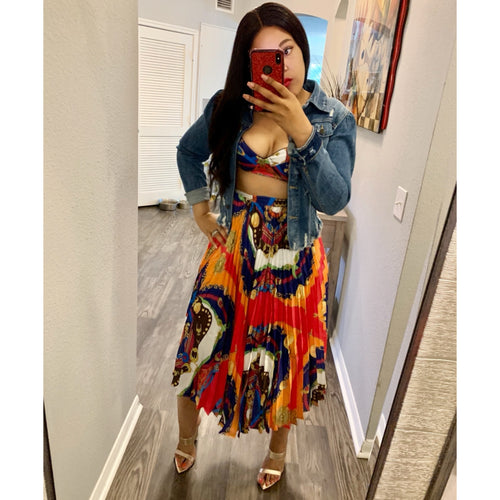 Mojo Set | 2 piece colorful bralette and crinkle midi skirt set
