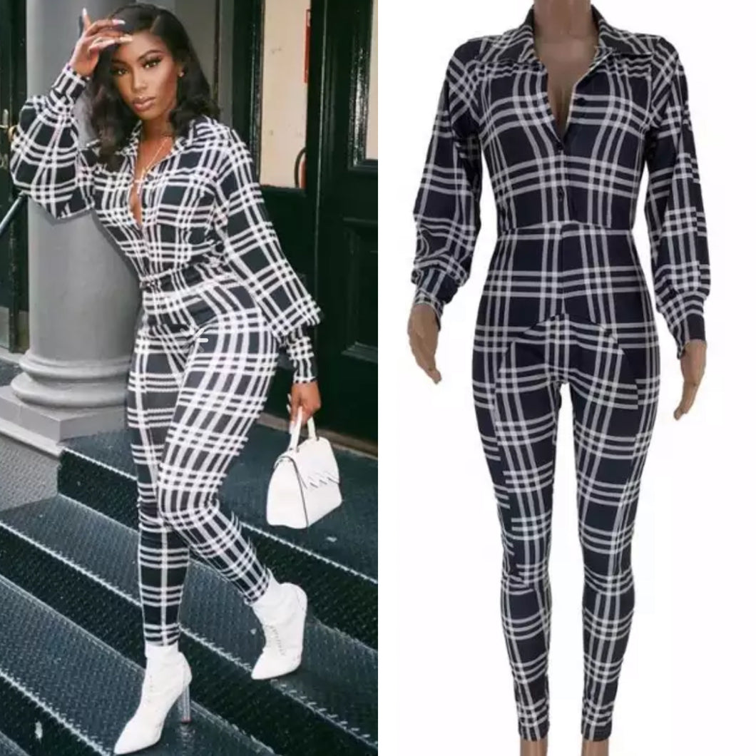 Fetch Jumpsuit | Black and white checkered jumpsuit