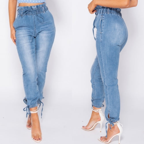 Paperbag high waist jeans | Light wash denim