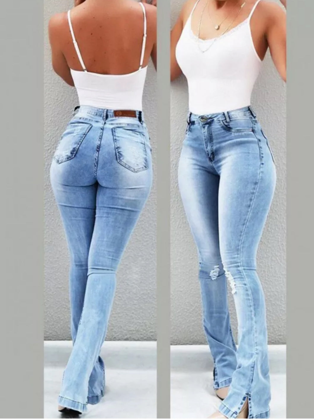 Light washed high-waisted boot-cut denim jeans