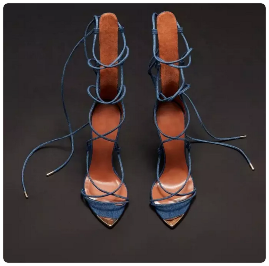 Denim laceup  heels
