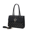 Brangio Italy Collections Women's Totes Bags Black Heart 2 Heart Handmade Medium Elegant Satchel