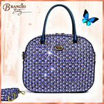 Brangio Italy Collections Women's Totes Bags Blue Galaxy Stars Overnight Go Away Travel Bag