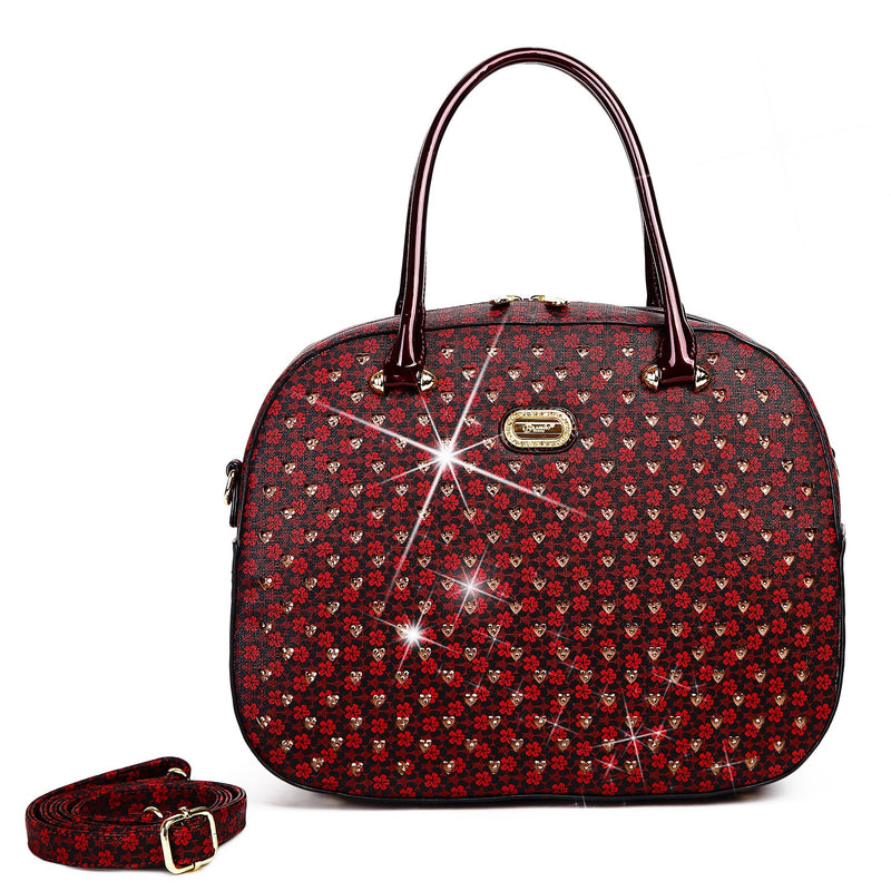 Brangio Italy Collections Women's Totes Bags Burgundy Galaxy Stars Overnight Go Away Travel Bag