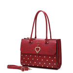 Brangio Italy Collections Women's Totes Bags Burgundy Heart 2 Heart Handmade Medium Elegant Satchel