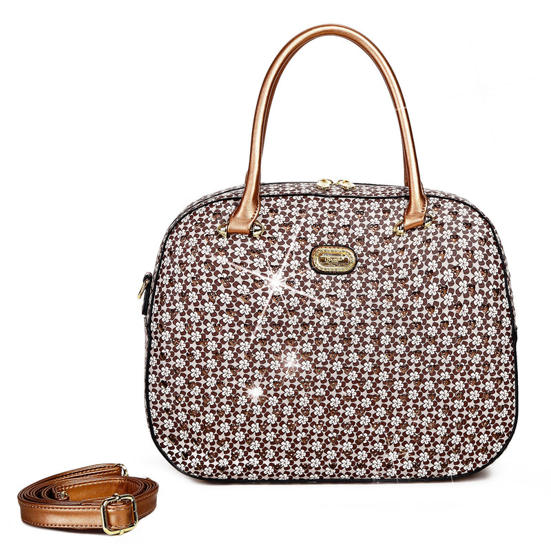 Brangio Italy Collections Women's Totes Bags Earth Brown Galaxy Stars Overnight Go Away Travel Bag