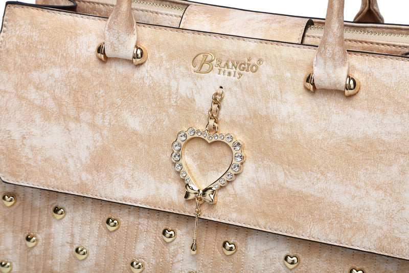 Brangio Italy Collections Women's Totes Bags Heart 2 Heart Handmade Medium Elegant Satchel