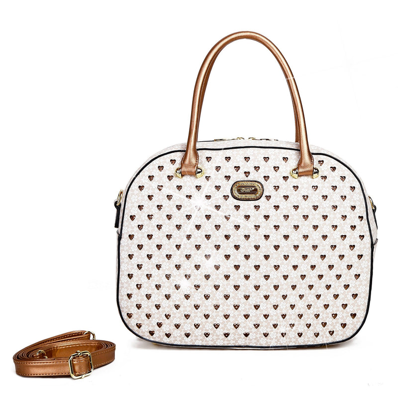Brangio Italy Collections Women's Totes Bags Ivory Galaxy Stars Overnight Go Away Travel Bag