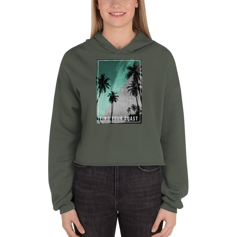 Find Your Coast Supply Co. Women Hoodies Military Green / S Women's Paradise Nights Cropped Fleece Hoodie