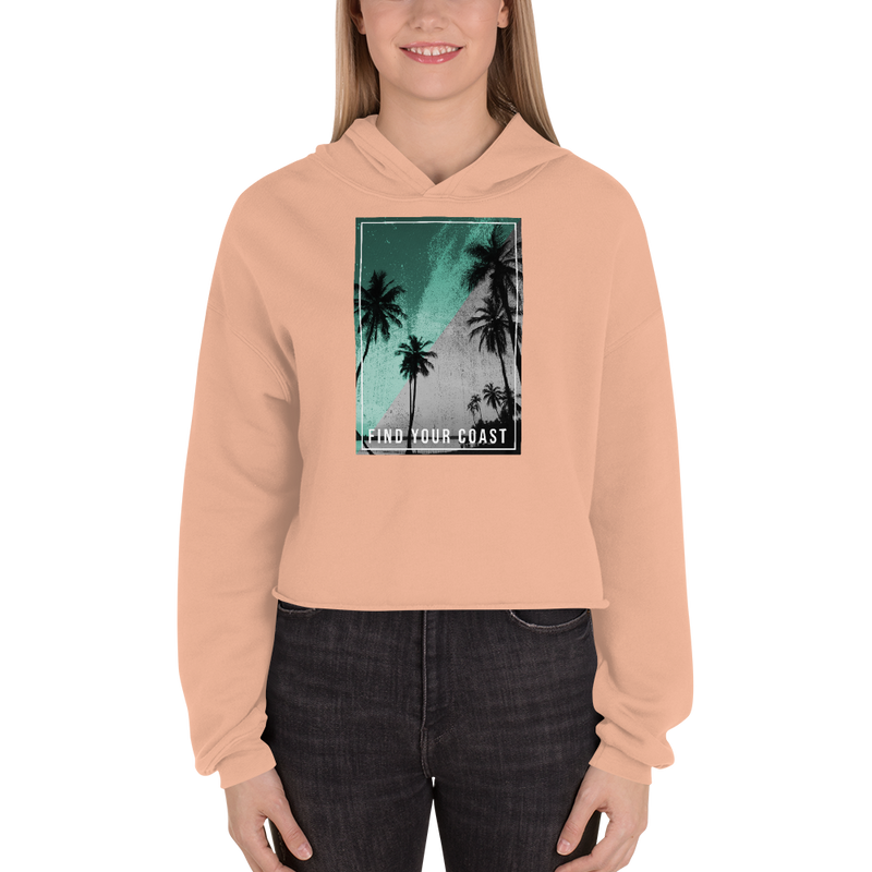 Find Your Coast Supply Co. Women Hoodies Peach / S Women's Paradise Nights Cropped Fleece Hoodie