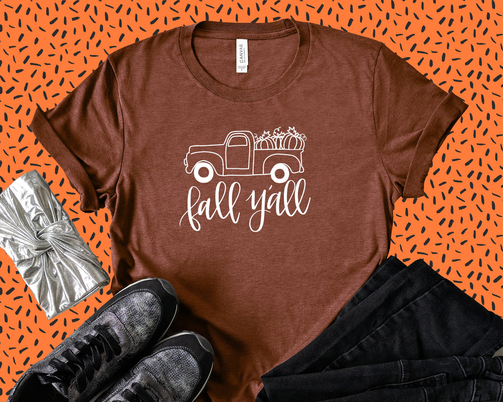 Friday Night Waffles Women T-Shirts Happy Fall Y'all Truck Tee