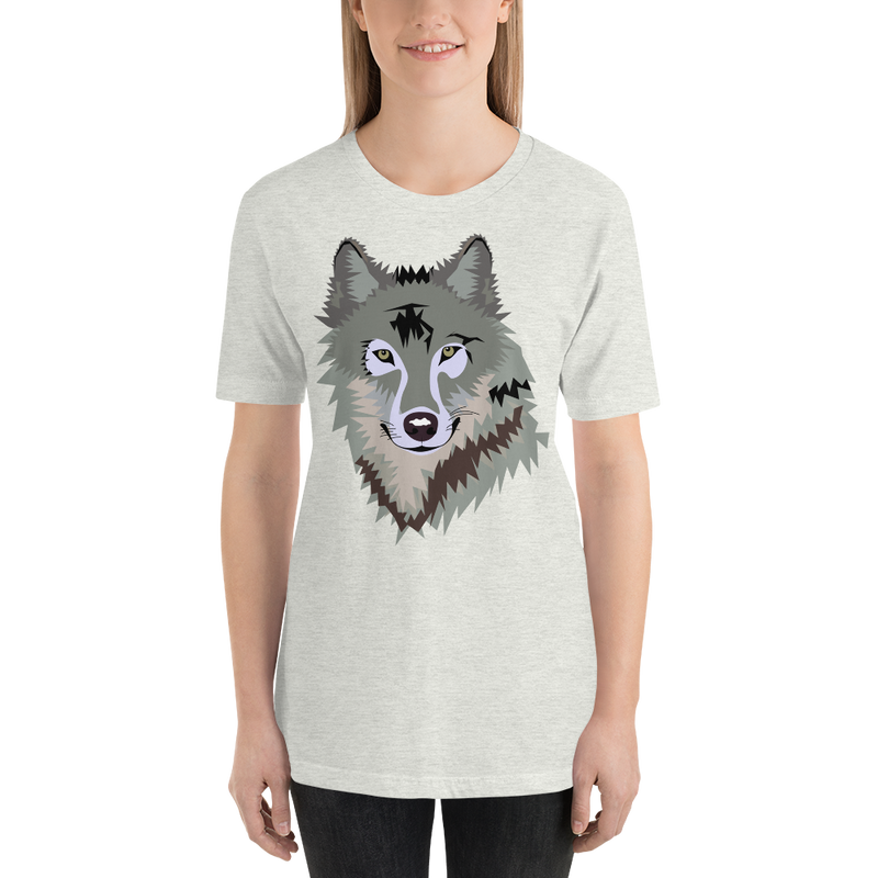 Jerry's Apparel Ash / S Short-Sleeve Unisex Wolf T-Shirt