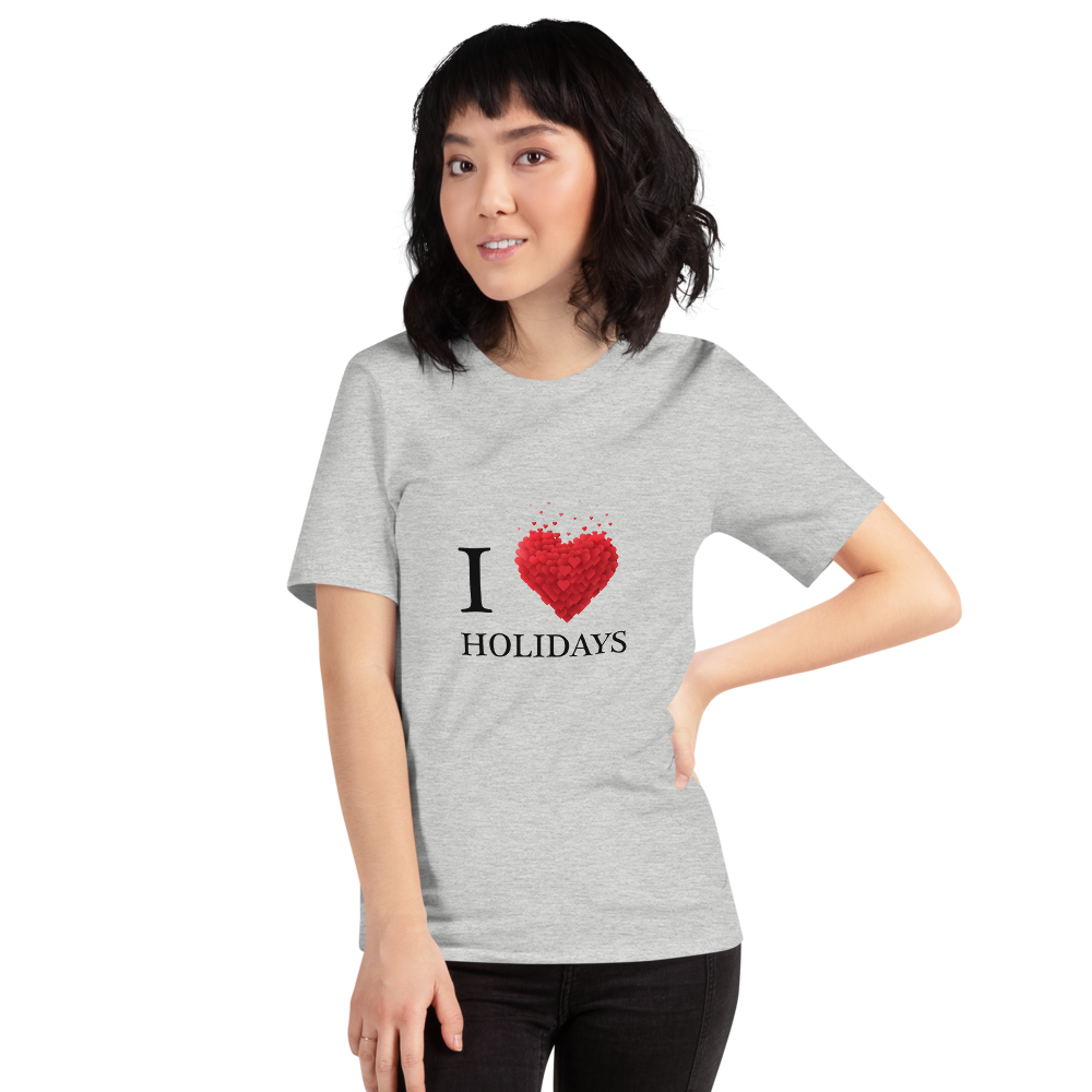 Jerry's Apparel Athletic Heather / S I Love Holidays T-Shirt