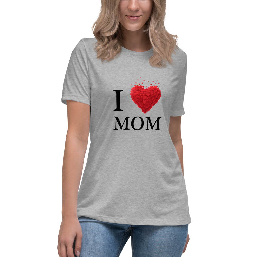 Jerry's Apparel Athletic Heather / S I Love Mom T-Shirt