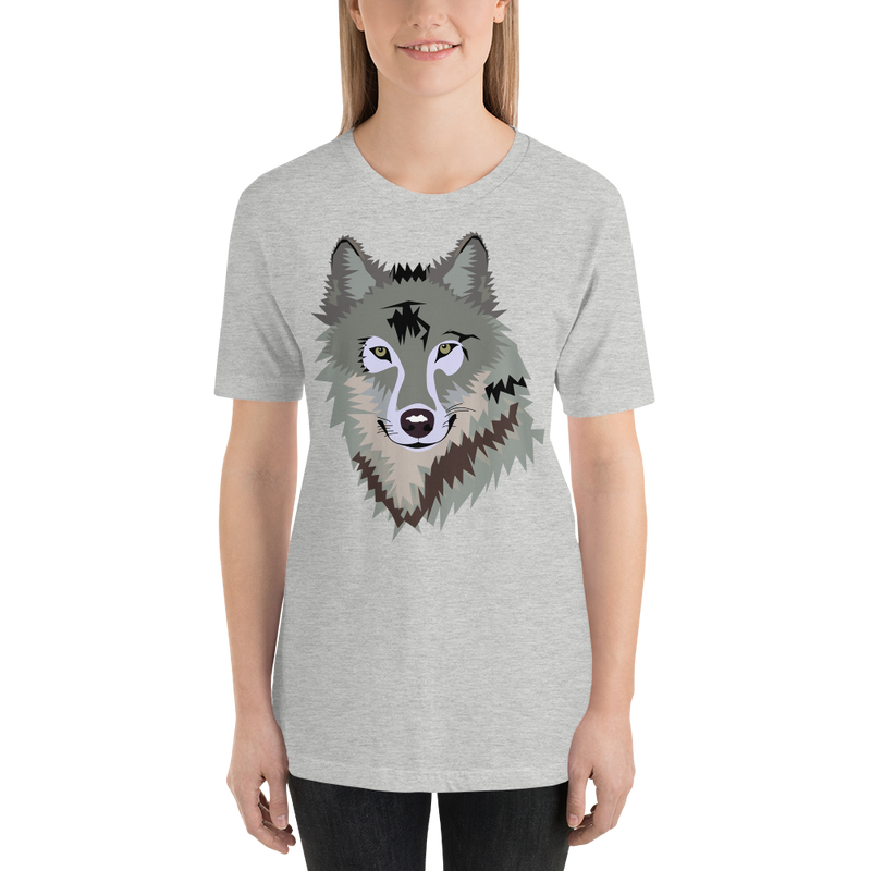 Jerry's Apparel Athletic Heather / S Short-Sleeve Unisex Wolf T-Shirt