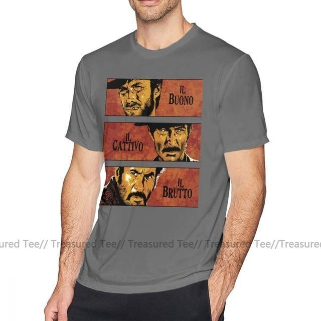 Jerry's Apparel Men Movie Tees Dark Grey / 5XL The Good The Bad And The Ugly T-Shirt