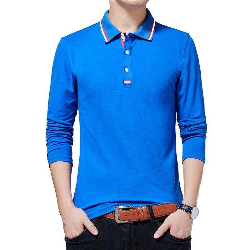 New Casual Men Polo Shirt Turn-Down Long Sleeve