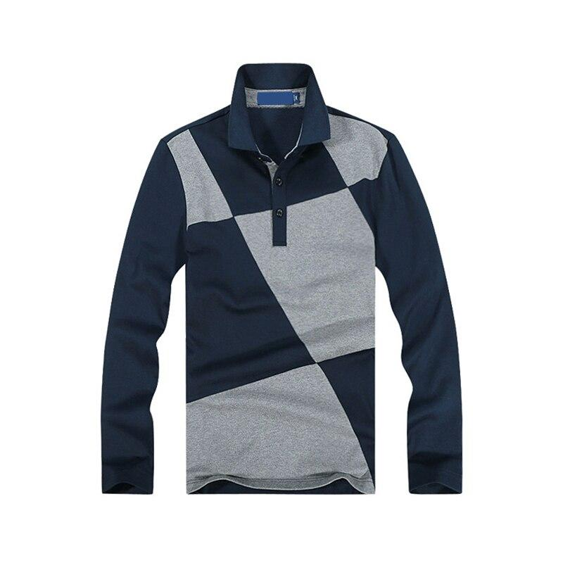 Casual Polo Shirt Men Contrast Color Pattern Long Sleeve