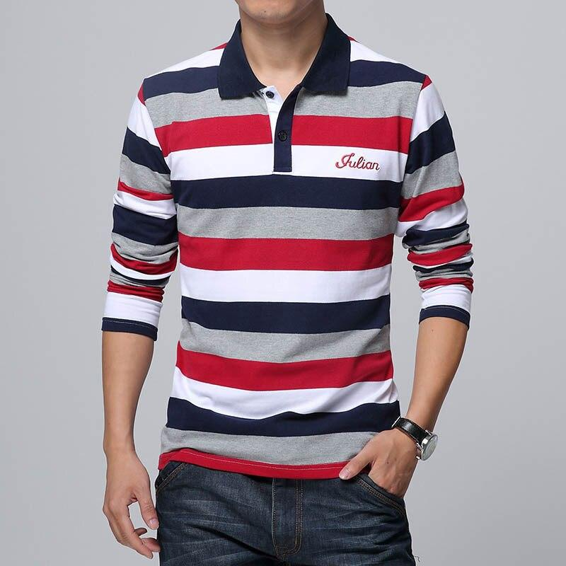 Men's Stripe Embroidery Polo Shirt