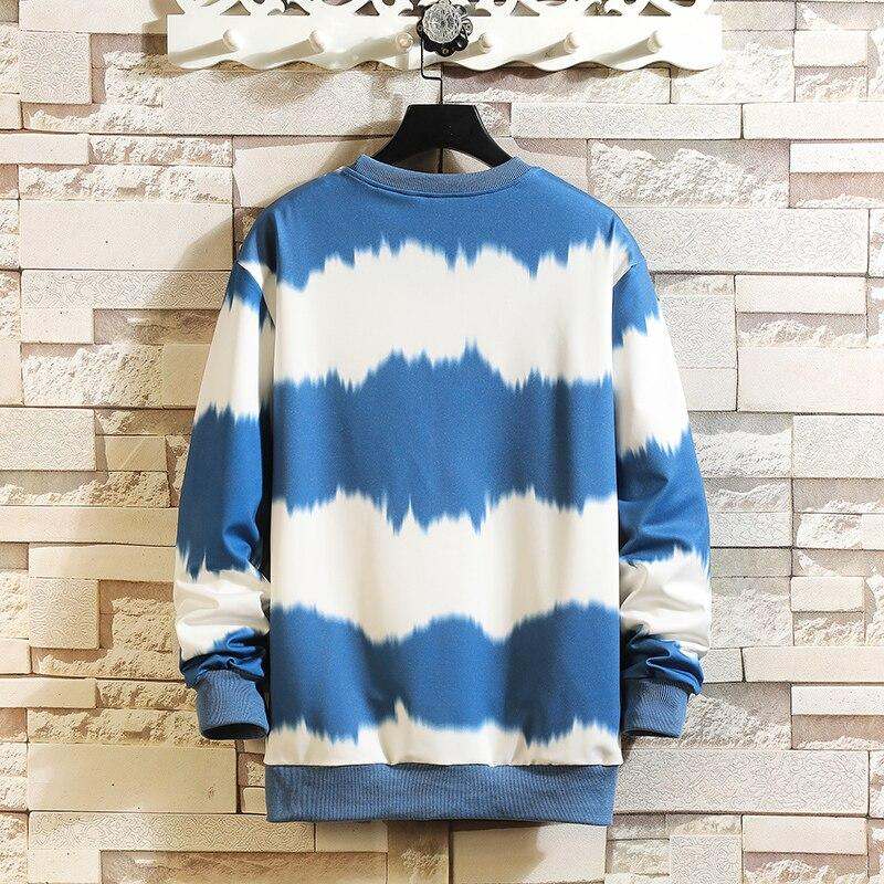 Sweatshirt Mens Blue/White Hip Hop Striped