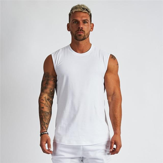 Jerry's Apparel Men Tank Tops white / XXL Mens Tank Top Compression Shirt for Gym