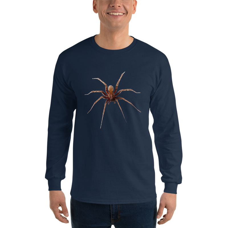 Jerry's Apparel Navy / S Men's Long Sleeve Spider Shirt