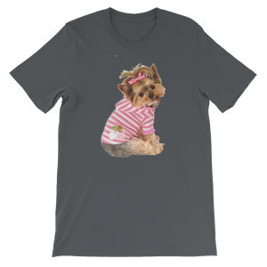"Jerry's Apparel Pet Tees Asphalt / S ""Yorkie T-shirt with bow"" Unisex T-Shirt"