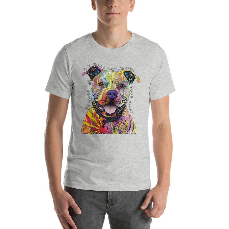 Jerry's Apparel Pet Tees Athletic Heather / S Beware of The Pitbull T shirt Unisex Jersey Short Sleeve