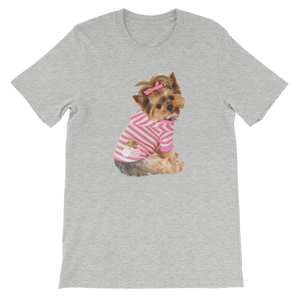 "Jerry's Apparel Pet Tees Athletic Heather / S ""Yorkie T-shirt with bow"" Unisex T-Shirt"