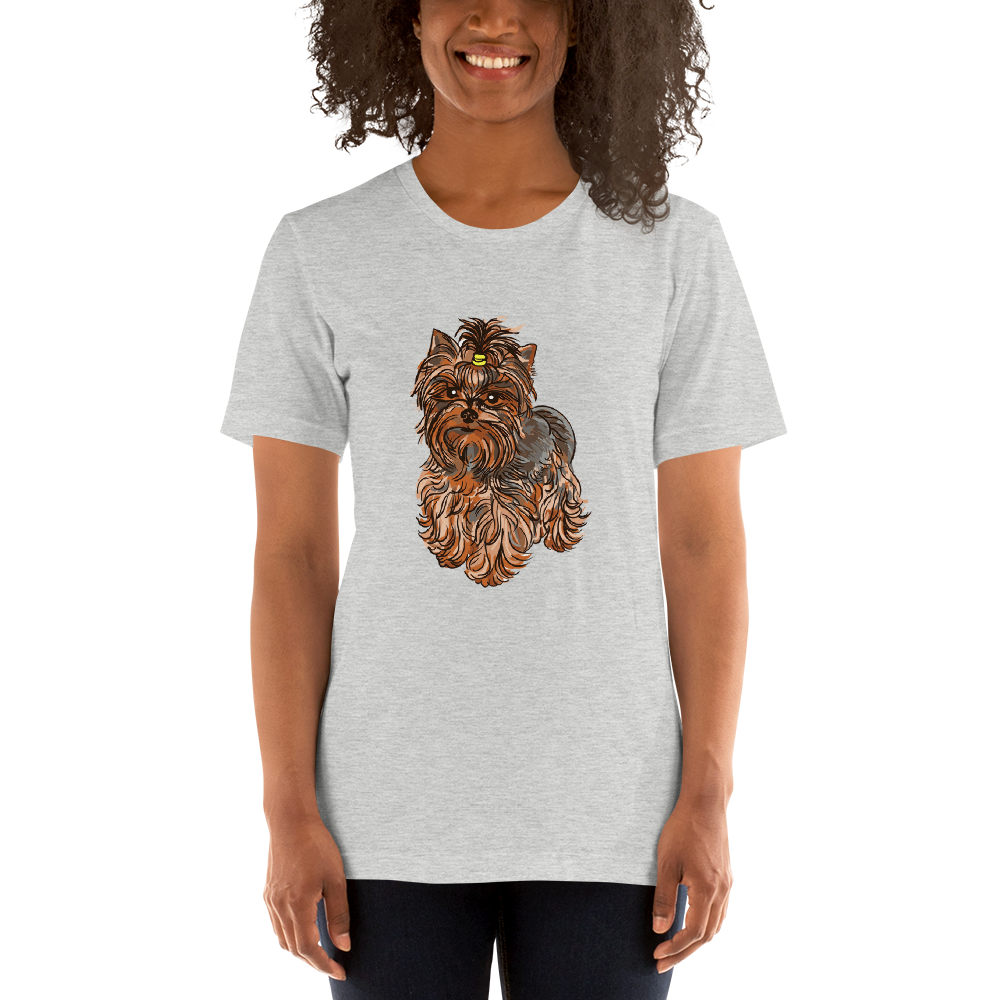 Jerry's Apparel Pet Tees Athletic Heather / S Yorkie Terrier T-Shirt