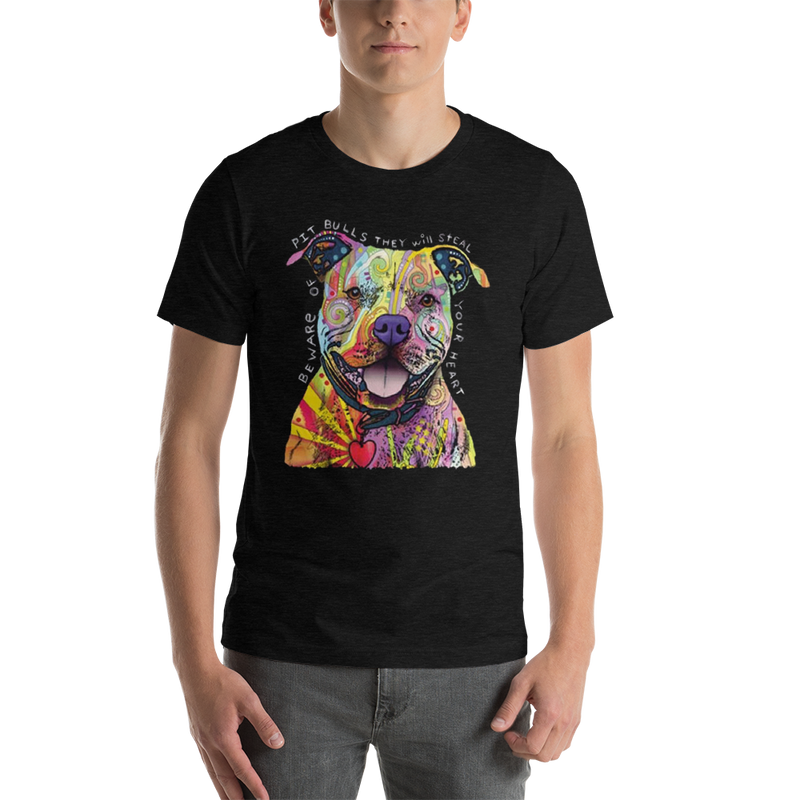 Jerry's Apparel Pet Tees Black Heather / S Beware of The Pitbull T shirt Unisex Jersey Short Sleeve
