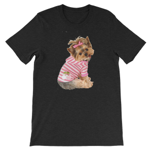 "Jerry's Apparel Pet Tees Black Heather / S ""Yorkie T-shirt with bow"" Unisex T-Shirt"