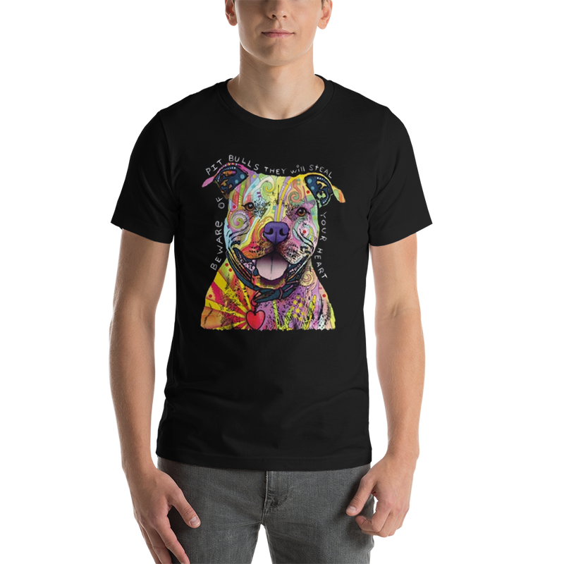 Jerry's Apparel Pet Tees Black / S Beware of The Pitbull T shirt Unisex Jersey Short Sleeve
