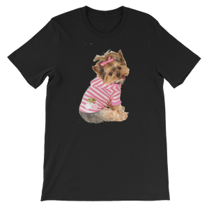 "Jerry's Apparel Pet Tees Black / S ""Yorkie T-shirt with bow"" Unisex T-Shirt"