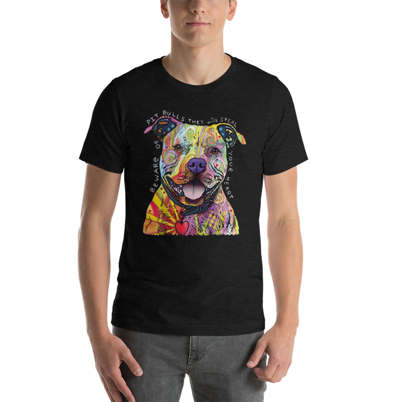 Jerry's Apparel Pet Tees Dark Grey Heather / S Beware of The Pitbull T shirt Unisex Jersey Short Sleeve