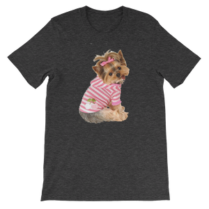 "Jerry's Apparel Pet Tees Dark Grey Heather / S ""Yorkie T-shirt with bow"" Unisex T-Shirt"