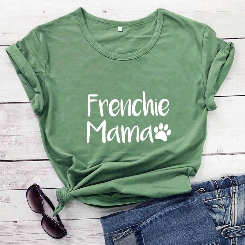 Frenchie Mama French Bulldog Paw Printed T-shirt