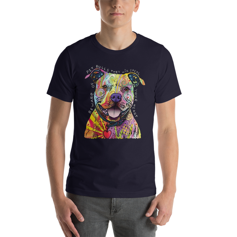 Jerry's Apparel Pet Tees Navy / S Beware of The Pitbull T shirt Unisex Jersey Short Sleeve