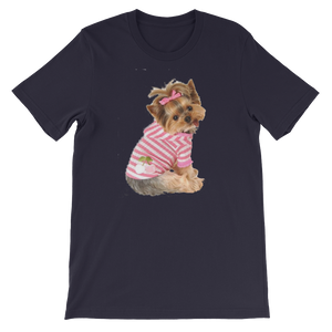 "Jerry's Apparel Pet Tees Navy / S ""Yorkie T-shirt with bow"" Unisex T-Shirt"