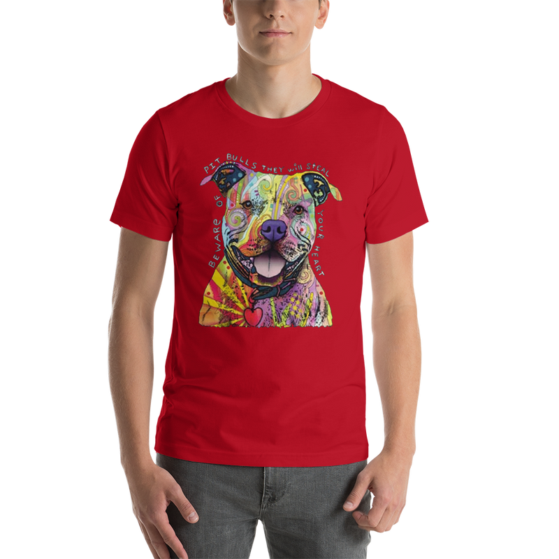 Jerry's Apparel Pet Tees Red / S Beware of The Pitbull T shirt Unisex Jersey Short Sleeve