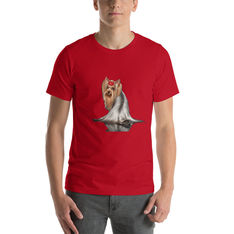 Jerry's Apparel Pet Tees Red / S Silver Long Hair Yorkie T-shirts